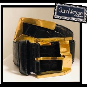 Gianni Versace Vintage Black&gold leather Belt